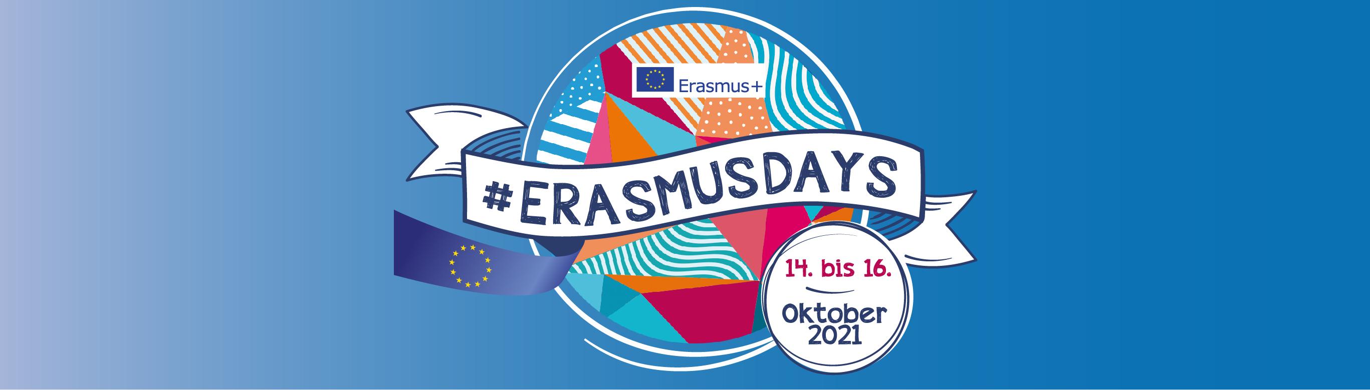 Banner mit Logo ErasmusDays 14.-16. Oktober 2021