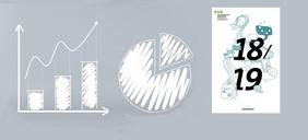 Grafische Elemente zum Thema Statistik mit Titelbild des Jahresberichts